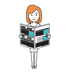 Young woman reading newspaper avatar character vector
