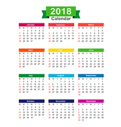 2018 Year calendar isolated on white background vector image vector image