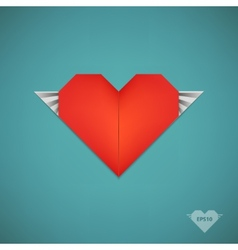 Retro paper origami heart with wings vector
