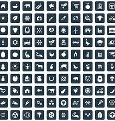 100 agriculture farm icons set vector