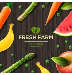 Farm label bio healthy food on wooden background vector