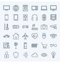 Line internet of things icons set vector