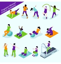 Pregnant women fitness isometric set vector