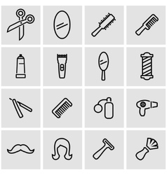 Line barber icon set vector