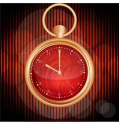 Golden watches on red abstract background vector