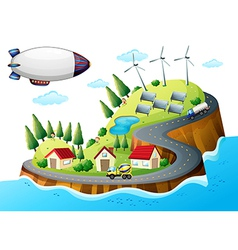 A village with windmills and a spaceship vector image