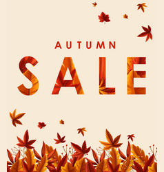 Autumn sale poster design with orange leaves vector