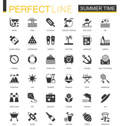Black classic summer time vacation activity icons vector