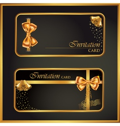 Black gift card with gold ribbon vector image