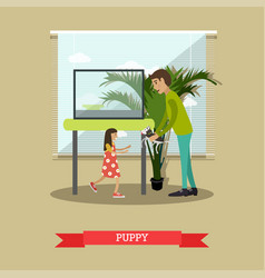 buying a puppy in flat style vector image vector image