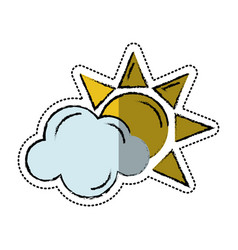 Cartoon sun cloud weather symbol vector