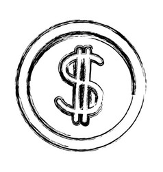 Coin dollar cash money currency icon vector