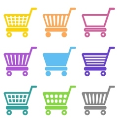 Colorful shopping cart icons vector