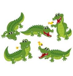 Crocodile set vector
