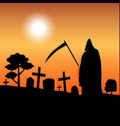death silhouette standing in graveyard vector image