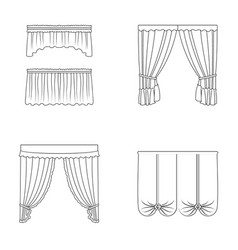 Different types of window curtainscurtains set vector