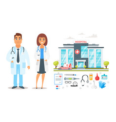 Doctor man and woman characters vector