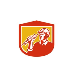 Electrician Clutching Lightning Bolt Shield vector image vector image