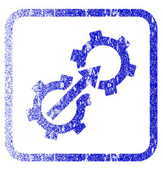 Gear integration framed textured icon vector