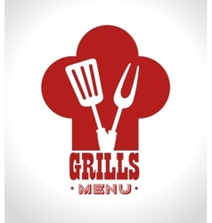 grills menu beef beer design isolated vector image