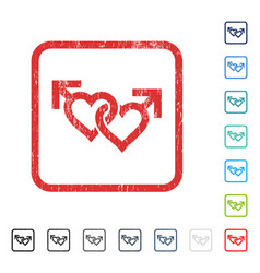 Linked gay hearts icon rubber watermark vector