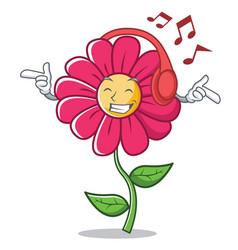 Listening music pink flower character cartoon vector