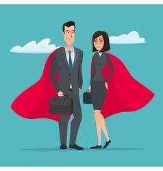 Man and woman business superheroes cartoon super vector