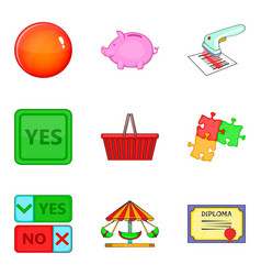 Option icons set cartoon style vector