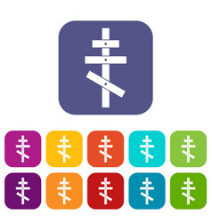 Orthodox cross icons set vector