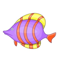 Purple fish with red stripe icon cartoon style vector