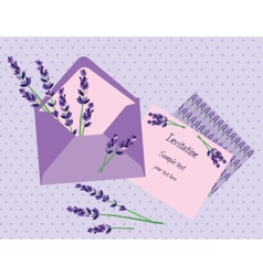 Purple lavender invitation card vector