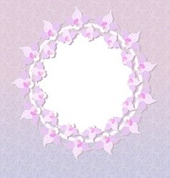 round pink floral frame vector image vector image