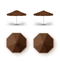 Set of Brown Patio Outdoor Cafe Bar Round Umbrella vector image