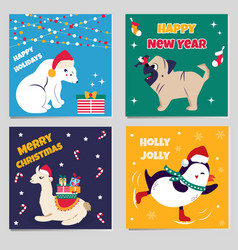 set of christmas cards with funny animals vector image vector image
