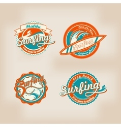 Set of retro surfing logo for t-shirt or poster vector