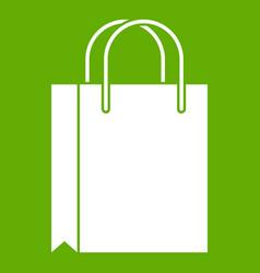 Shopping bag icon green vector