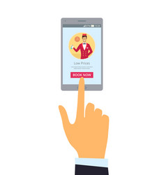 smartphone and hand isolated vector image vector image