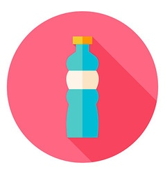 Sport bottle of water circle icon vector