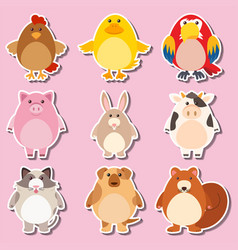 sticker design with farm animals vector image