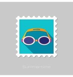 Swimming Goggles flat stamp with long shadow vector image vector image