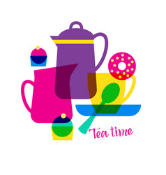 Tea time with lettering vector