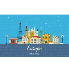 Travel to Europe for winter Merry Christmas vector image vector image