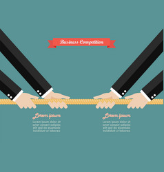 Two businessmen pull the rope competition vector