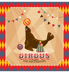 Vintage circus card with eared seal vector