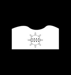 White icon on black background underwater naval vector