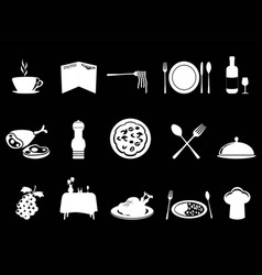 white restaurant icons set vector image vector image