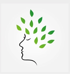 Womans face with green leaves as hair vector image