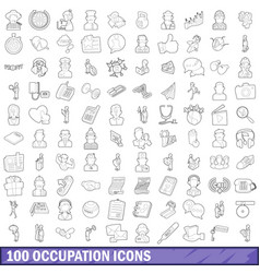 100 occupation icons set outline style vector image