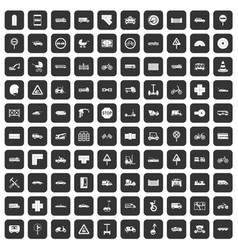 100 road icons set black vector image vector image
