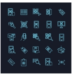 qr code icons set on a black background vector image